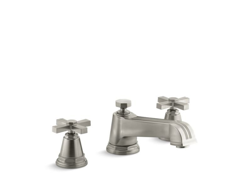 Kohler K-T13140-3B-BN Pinstripe Deck-Mount Bath Faucet Trim for High-Flow Valve with Cross Handles, Valve Not Included in Vibrant Brushed Nickel