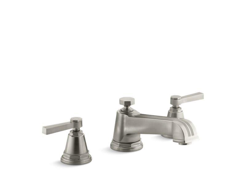 Kohler K-T13140-4B-BN Pinstripe Deck-Mount Bath Faucet Trim for High-Flow Valve with Lever Handles, Valve Not Included in Vibrant Brushed Nickel