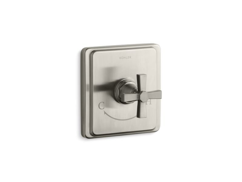 Kohler K-T13173-3A-BN Pinstripe Valve Trim with Pure Design Cross Handle for Thermostatic Valve, Requires Valve in Vibrant Brushed Nickel