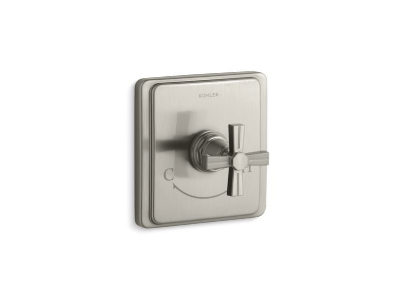 Kohler K-T13173-3B-BN Pinstripe Valve Trim with Cross Handle for Thermostatic Valve, Requires Valve in Vibrant Brushed Nickel