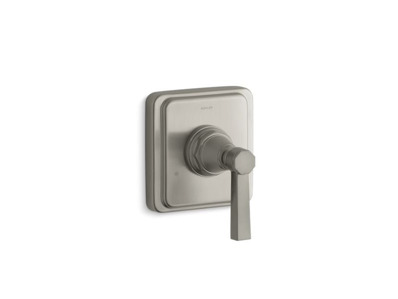 Kohler K-T13175-4A-BN Pinstripe Valve Trim with Pure Design Lever Handle for Transfer Valve, Requires Valve in Vibrant Brushed Nickel