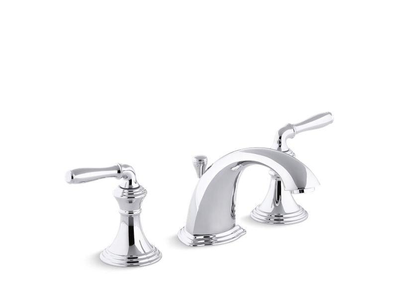 Kohler K-394-4-CP Devonshire Widespread Bathroom Sink Faucet with Lever Handles in Polished Chrome