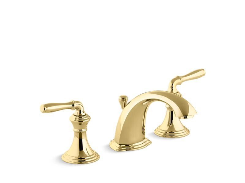Kohler K-394-4-PB Devonshire Widespread Bathroom Sink Faucet with Lever Handles in Vibrant Polished Brass