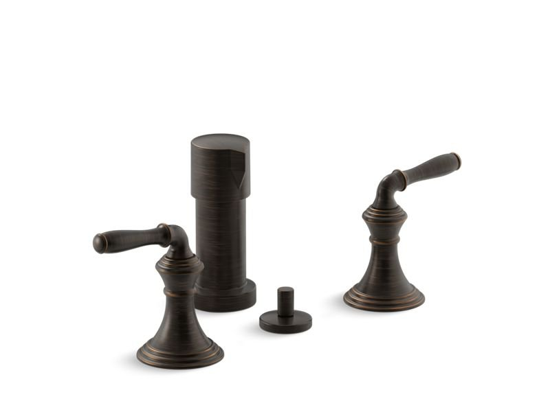 Kohler K-412-4-2BZ Devonshire Vertical Spray Bidet Faucet with Lever Handles in Oil-Rubbed Bronze