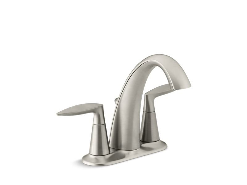 Kohler K-45100-4-BN Alteo Centerset Bathroom Sink Faucet with Lever Handles in Vibrant Brushed Nickel