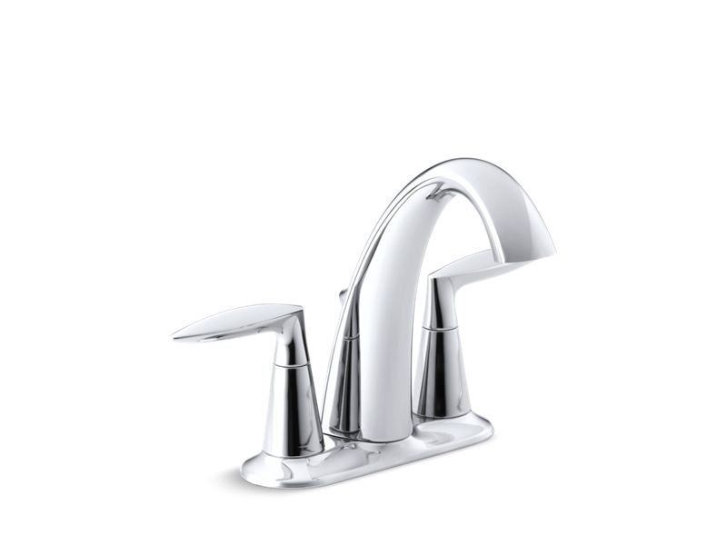 Kohler K-45100-4-CP Alteo Centerset Bathroom Sink Faucet with Lever Handles in Polished Chrome