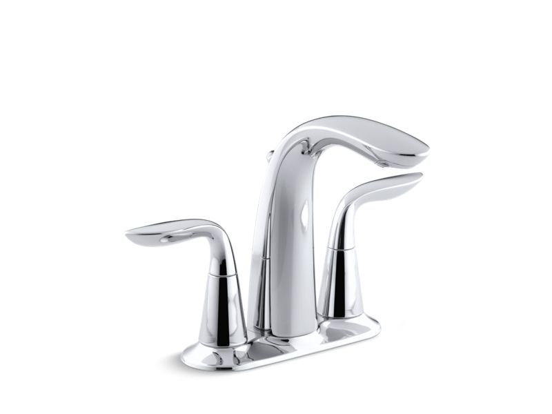 Kohler K-5316-4-CP Refinia Centerset Bathroom Sink Faucet with Lever Handles in Polished Chrome
