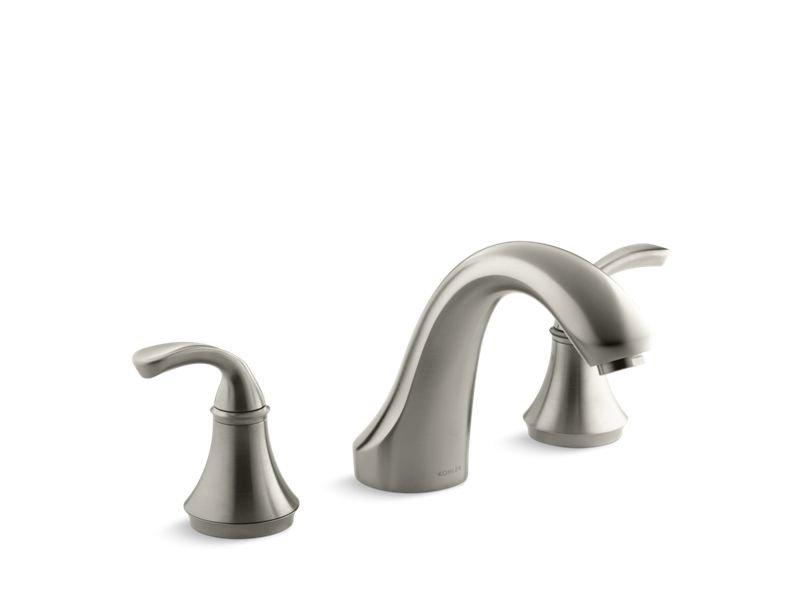 Kohler K-T10278-4-BN Fort Sculpted Deck-Mount Bath Faucet Trim For High-Flow Valve, Valve Not Included in Vibrant Brushed Nickel
