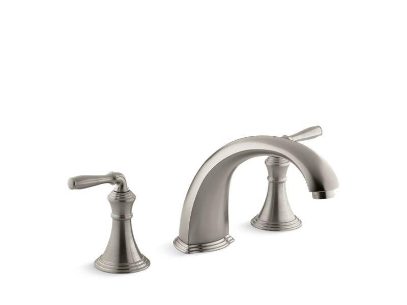 "Kohler K-T398-4-BN Devonshire Deck-/Rim-Mount Bath Faucet Trim for High-Flow Valve with 9"" Non-Diverter Spout and Lever Handles, Valve Not Included in Vibrant Brushed Nickel"