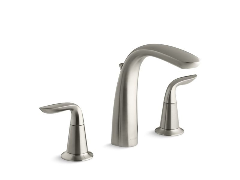 Kohler K-T5324-4-BN Refinia Bath Faucet Trim with High-Arch Diverter Spout and Lever Handles, Valve Not Included in Vibrant Brushed Nickel