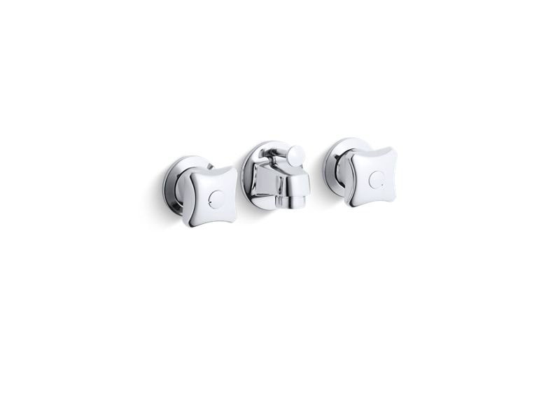 Kohler K-8040-2A-CP Triton Shelf-Back Commercial Bathroom Sink Faucet with Pop-Up Drain and Standard Handles