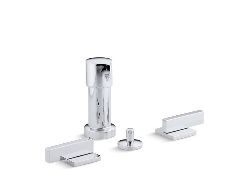 Kohler K-14663-4-CP Loure Vertical Bidet Faucet with Lever Handles in Polished Chrome