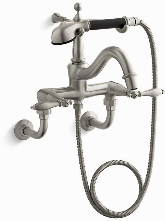 Kohler K-331-4M-BN Finial Traditional Floor- or Wall-Mount Faucet with Lever Handles, Diverter Spout, Polished Finish Accents and Handshower in Vibrant Brushed Nickel