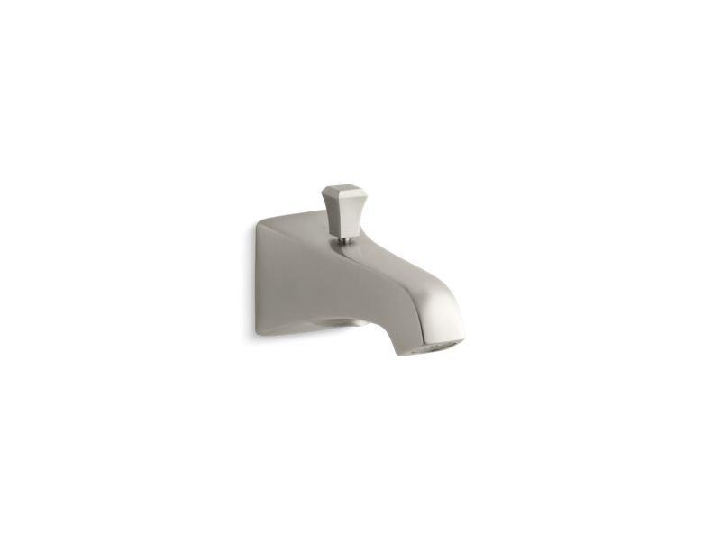"Kohler K-496-V-BN Memoirs Stately Wall-Mount 6"" Diverter Bath Spout with Deco Lift Rod in Vibrant Brushed Nickel"