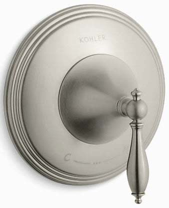 Kohler K-T10301-4M-BN Finial Traditional Valve Trim with Lever Handle for Thermostatic Valve, Requires Valve in Vibrant Brushed Nickel