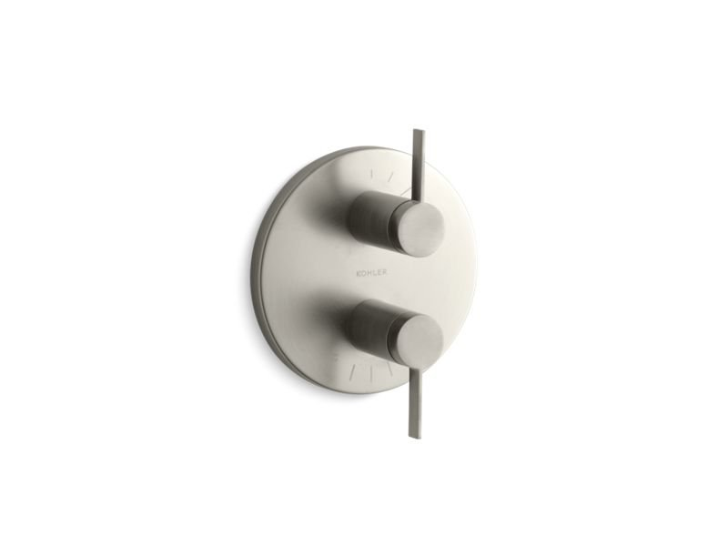 Kohler K-T10941-4-BN Stillness Valve Trim with Lever Handles for Stacked Valve, Requires Valve in Vibrant Brushed Nickel