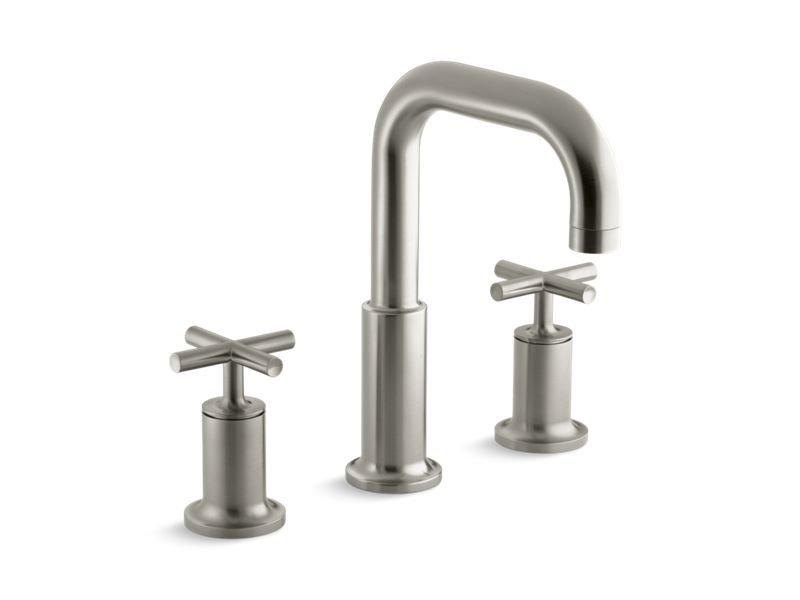Kohler K-T14428-3-BN Purist Deck-Mount Bath Faucet Trim for High-Flow Valve with Cross Handles, Valve Not Included in Vibrant Brushed Nickel