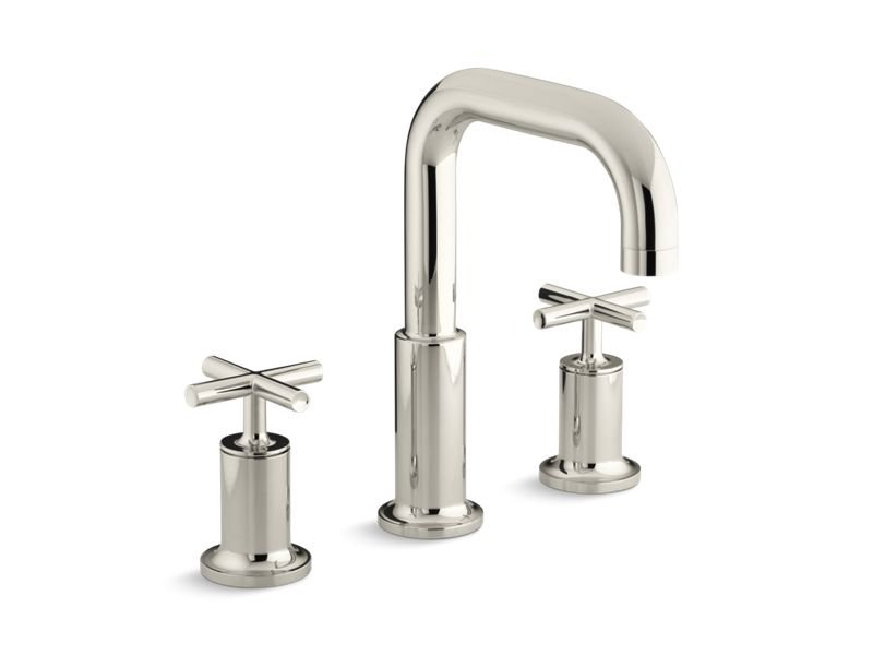 Kohler K-T14428-3-SN Purist Deck-Mount Bath Faucet Trim for High-Flow Valve with Cross Handles, Valve Not Included in Vibrant Polished Nickel