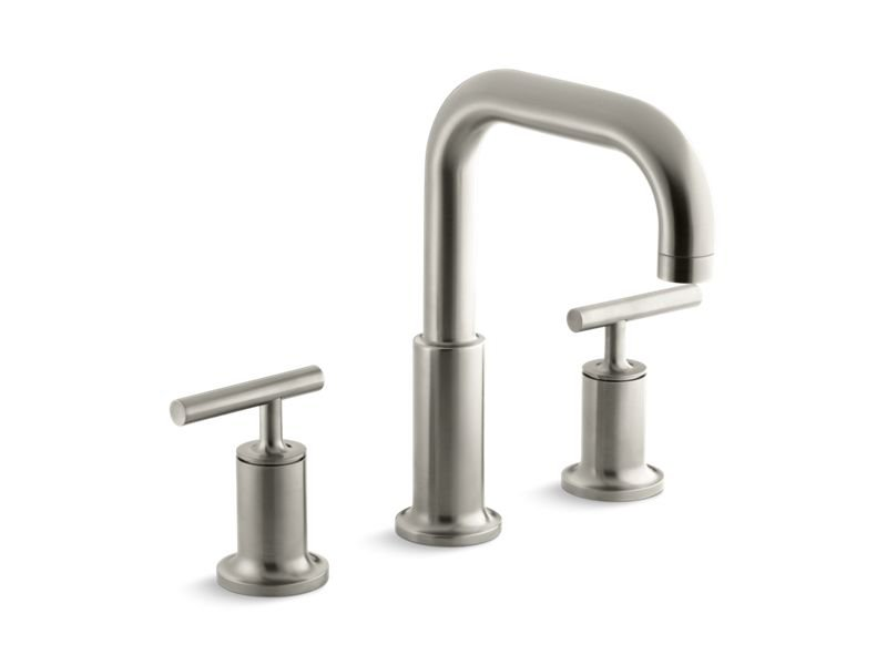 Kohler K-T14428-4-BN Purist Deck-Mount Bath Faucet Trim for High-Flow Valve with Lever Handles, Valve Not Included in Vibrant Brushed Nickel
