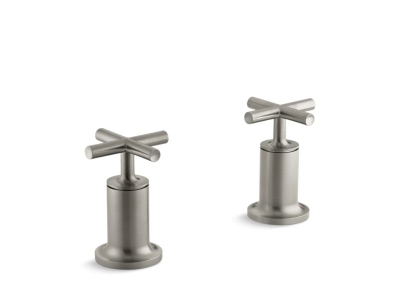 Kohler K-T14429-3-BN Purist Deck- Or Wall-mount High-flow Bath Valve Trim with Cross Handle, Valve Not Included in Vibrant Brushed Nickel