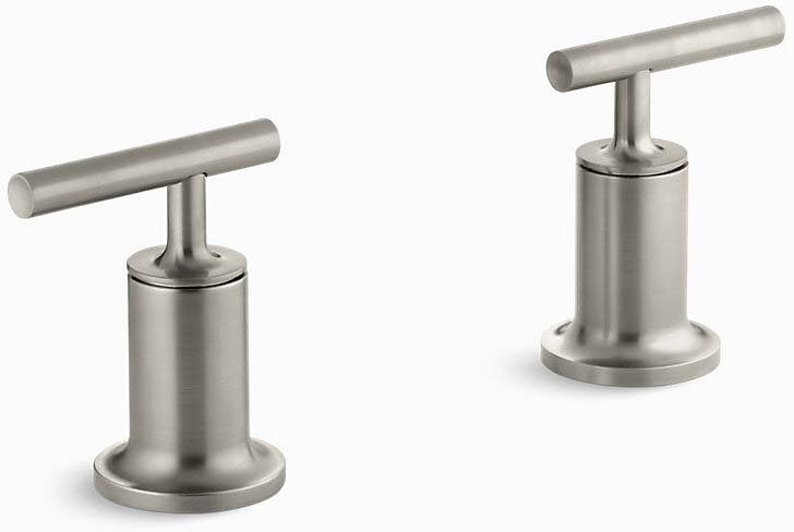 Kohler K-T14429-4-BN Purist  Deck- Or Wall-mount High-flow Bath Trim with Lever Handles, Handles Only, Valve Not Included in Vibrant Brushed Nickel