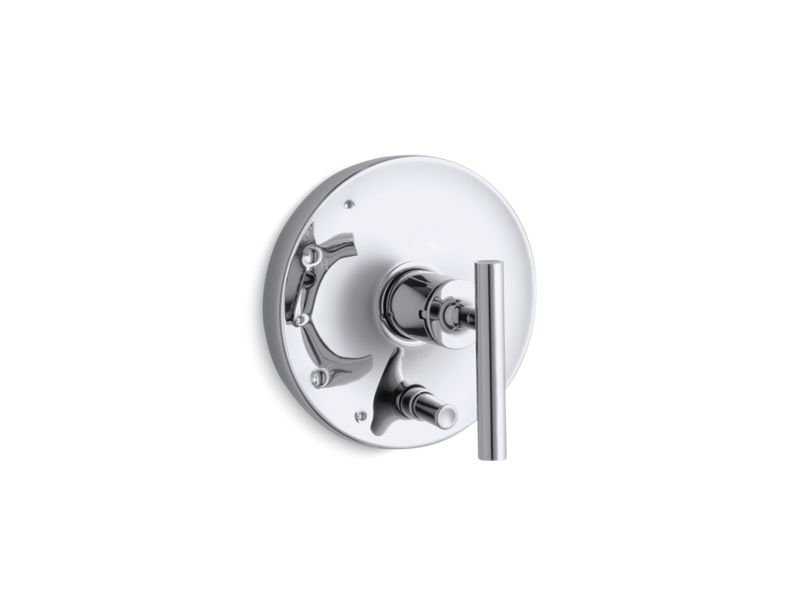 Kohler K-T14501-4-CP Purist Rite Temp Pressure Balancing Valve Trim with Lever Handles in Polished Chrome