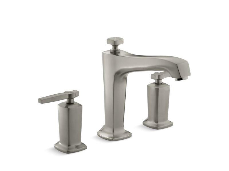Kohler K-T16236-4-BN Margaux Deck-Mount Bath Faucet Trim for High-Flow Valve with Diverter Spout and Lever Handles, Valve Not Included in Vibrant Brushed Nickel