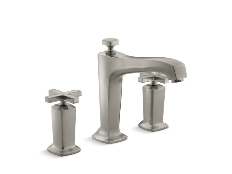 Kohler K-T16237-3-BN Margaux Deck-Mount Bath Faucet Trim for High-Flow Valve with Non-Diverter Spout and Cross Handles, Valve Not Included in Vibrant Brushed Nickel