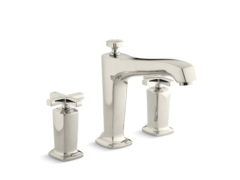 Kohler K-T16237-3-SN Margaux Deck-Mount Bath Faucet Trim for High-Flow Valve with Non-Diverter Spout and Cross Handles, Valve Not Included in Vibrant Polished Nickel