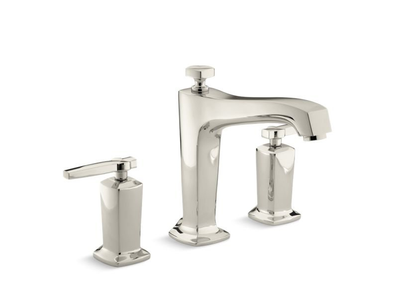 Kohler K-T16237-4-SN Margaux Deck-Mount Bath Faucet Trim for High-Flow Valve with Non-Diverter Spout and Lever Handles, Valve Not Included in Vibrant Polished Nickel