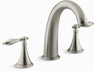 Kohler K-T314-4M-BN Finial Traditional Deck-Mount Bath Faucet Trim for High-Flow Valve with Lever Handles, Valve Not Included in Vibrant Brushed Nickel