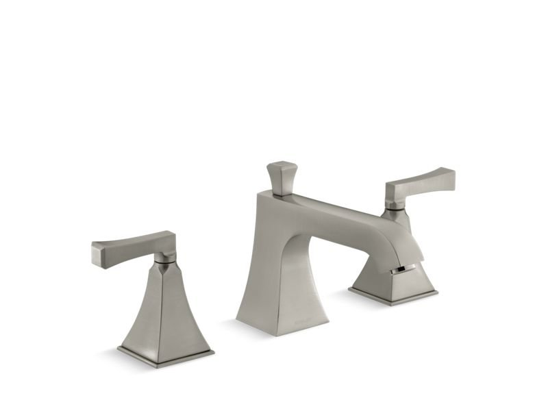 Kohler K-T428-4V-BN Memoirs Stately Deck-Mount Bath Faucet Trim for High-Flow Valve with Diverter Spout and Deco Lever Handles, Valve Not Included in Vibrant Brushed Nickel
