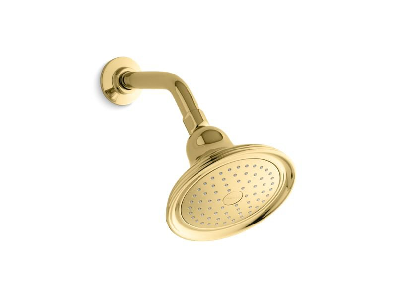 Kohler K-10391-AK-PB Devonshire 2.5 GPM Single Function Showerhead with Katalyst Air-Induction Technology in Vibrant Polished Brass