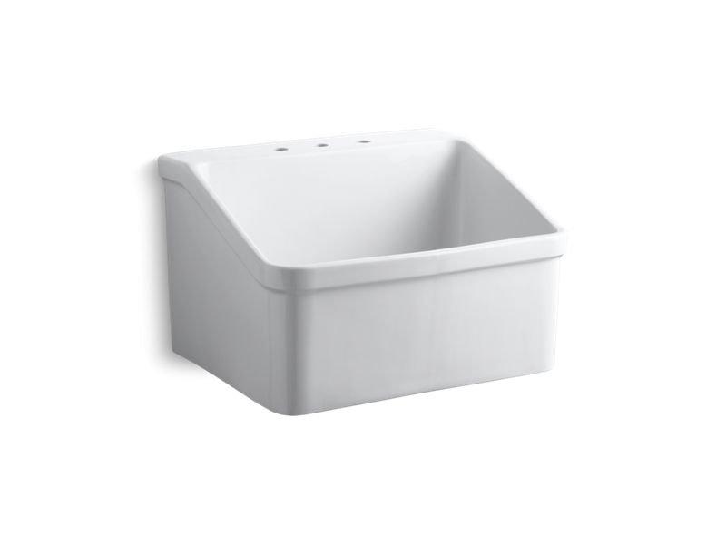 "Kohler K-12794-0 Hollister 28"" X 22"" Bracket-Mounted Utility Sink with 8"" Widespread Faucet Holes"