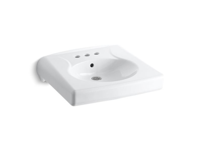 """Kohler K-1997-4-0 Brenham Wall-Mounted or Concealed Carrier Arm Mounted Commercial Bathroom Sink with 4"""" Centerset Faucet Holes in White"""