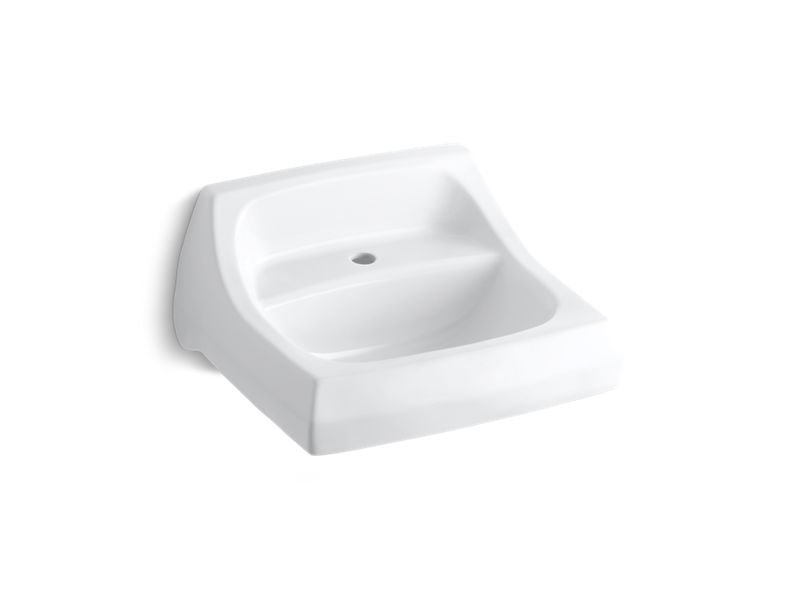 """Kohler K-2007-0 Kingston 21-1/4"""" X 18-1/8"""" Wall-Mount/Concealed Arm Carrier Arm Bathroom Sink with Single Faucet Hole in White"""