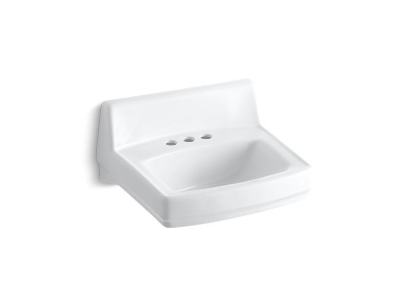 """Kohler K-2032-0 Greenwich 20-3/4"""" X 18-1/4"""" Wall-Mount/Concealed Arm Carrier Bathroom Sink with 4"""" Centerset Faucet Holes in White"""