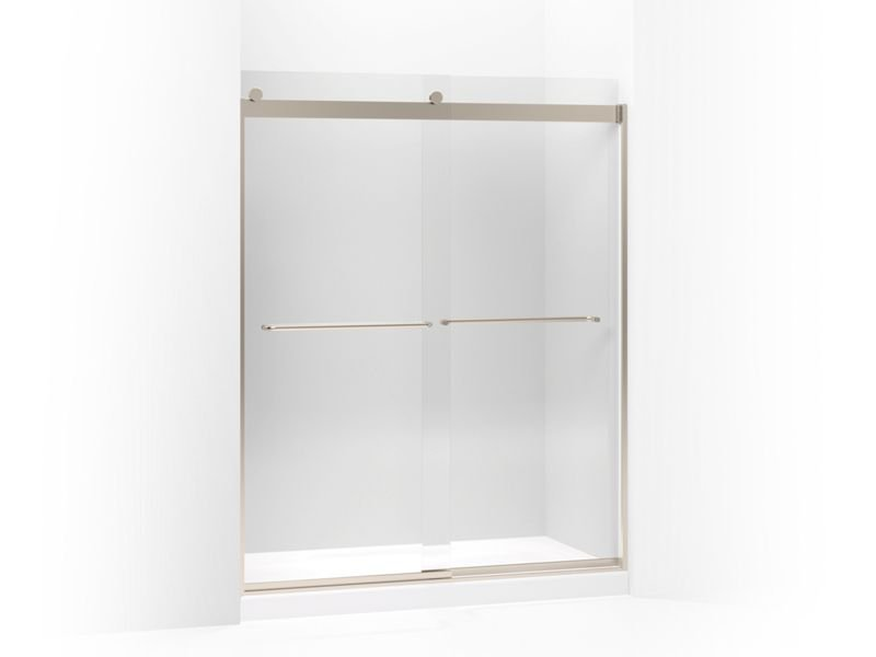 """Kohler K-706015-L-ABV Levity Sliding Shower Door, 74"""" H X 56-5/8 - 59-5/8"""" W, with 1/4"""" Crystal Clear Glass and Towel Bars in Anodized Brushed Bronze"""