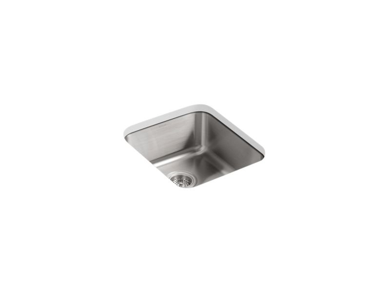 "Kohler K-3331-NA Undertone 15-3/4"" x 17-1/2"" x 7-5/8"" Medium Squared Under-mount Single-bowl Bar Sink"