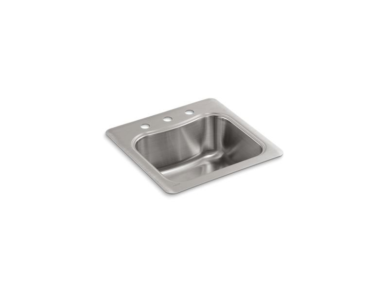 Kohler K-3363-3-NA Staccato Top-Mount Single Bowl Bar Sink with 3 Faucet Holes