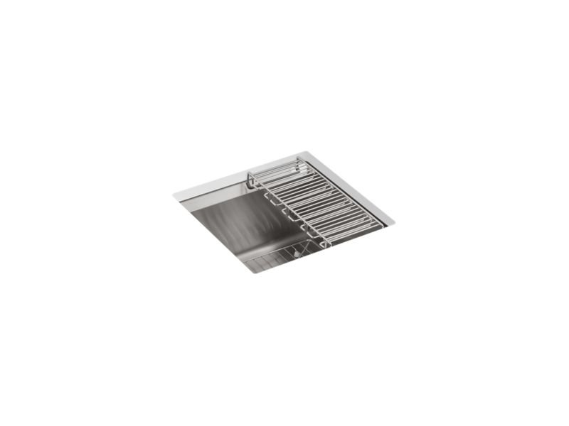 Kohler K-3671-NA 8 Degree Under-Mount Bar Sink with Bottom Bowl Sink Rack And Wine Glass Rack