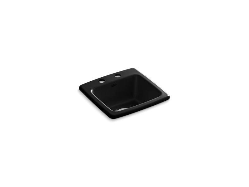 Kohler K-6015-2-7 Gimlet Top-Mount Bar Sink with 2 Faucet Holes in Black