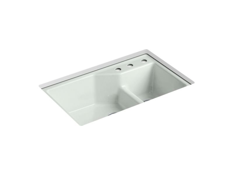 "Kohler K-6411-3-FF Indio 33"" x 21-1/8"" x 9-3/4"" Under-mount Smart Divide Large/Small Double-bowl Kitchen Sink with Three-hole Faucet Holes in Sea Salt"