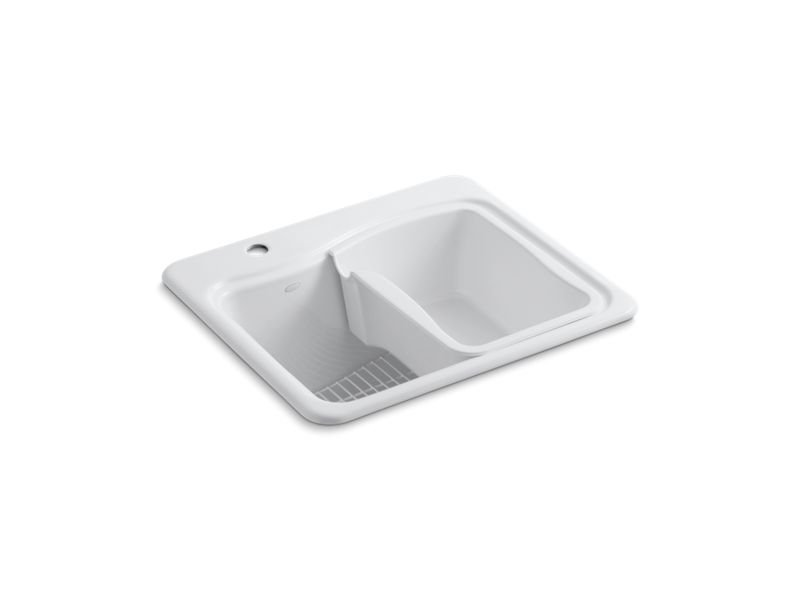 Kohler K-6657-1-0 River Falls Top-Mount Utility Sink with Single Faucet Hole On Deck On Left Side in White