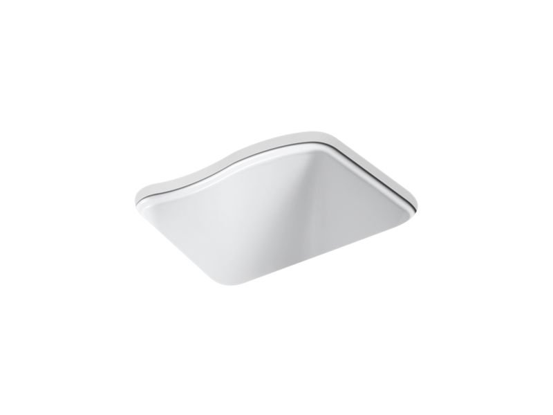 Kohler K-6657-4U-0 River Falls Under-Mount Utility Sink with 4 Faucet Holes - 3-Holes On Deck On The Left and Right-Hand Accessory Hole in White