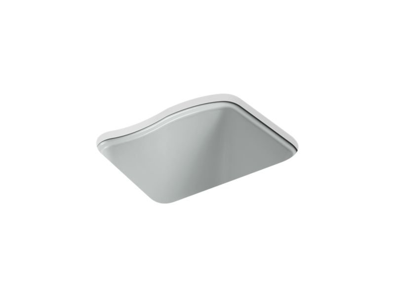 Kohler K-6657-4U-95 River Falls Under-Mount Utility Sink with 4 Faucet Holes - 3-Holes On Deck On The Left and Right-Hand Accessory Hole in Ice Grey