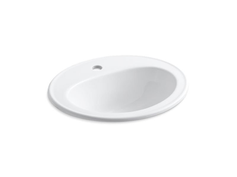 Kohler K-2196-1-0 Pennington Drop-In Bathroom Sink with Single Faucet Hole in White
