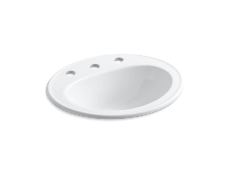 "Kohler K-2196-8-0 Pennington Drop-In Bathroom Sink with 8"" Widespread Faucet Holes in White"