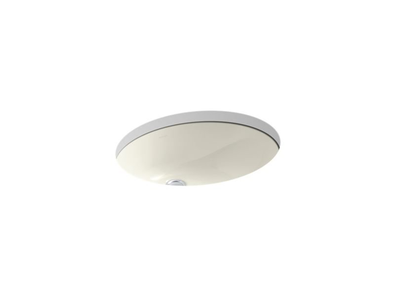 """Kohler K-2210-96 Caxton Oval 17"""" x 14"""" Under-Mount Bathroom Sink with Overflow and Clamp Assembly in Biscuit"""