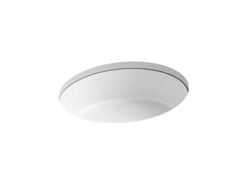 Kohler K-2881-0 Vertical Oval Under-Mount Bathroom Sink in White